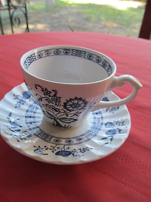 J & G Meakin English Classic White Ironstone Blue Nordic Onion Cup & Saucer