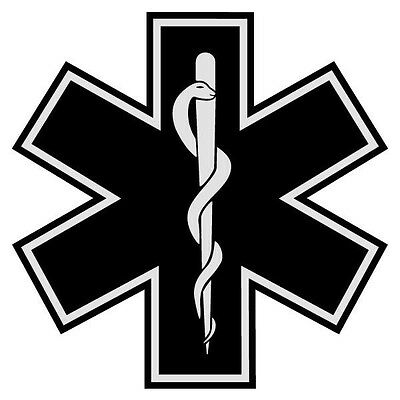 Black Star of Life Reflective Emergency Medical EMT Die Cut Border Decal 2 7/8""