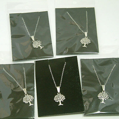 5 Antique Silver Tree of Life Necklaces -  Jewellery - Wholesale - Job Lot - UK