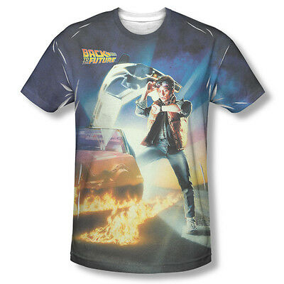 Back to the Future Movie Dolorean Poster Sublimation ALL OVER Vintage T-shirt