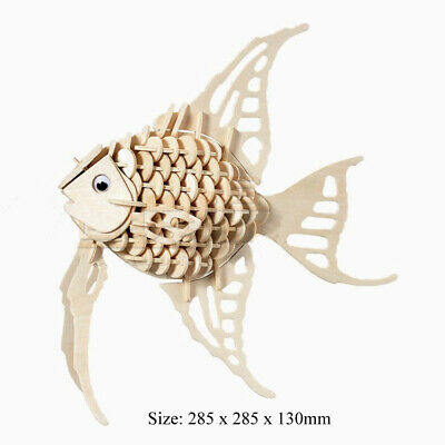 ANGEL FISH DIY 3D Jigsaw Realistic Wooden Model Construction Kit Toy Puzzle Gift