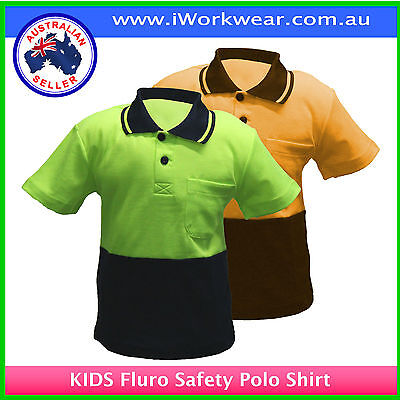 New Kids Safety Hi Vis Two Tone Polo Shirt T-Shirt All Sizes