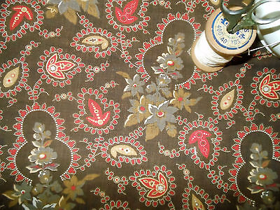 Antique 19thc Brown Red Mustard Early Cotton Fabric~beautiful ~dolls quilt