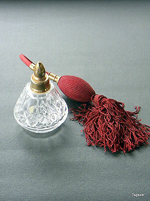 """VINTAGE CUT CRYSTAL PERFUME BOTTLE WITH BURGANDY ANTOMIZER 4 1/4"""" TALL"""