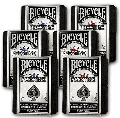 6 Boxed Decks Red & Blue Bicycle Prestige Poker Playing Cards 100% Plastic New