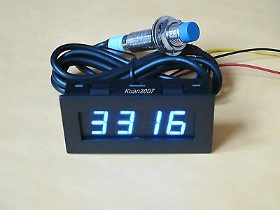 4 Digital Blue LED Tachometer RPM Speed Meter+Proximity Switch Sensor NPN 3 Wire