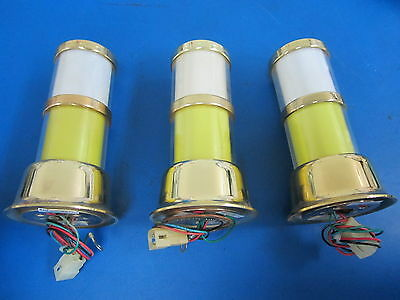 Lot of 3 Casino Slot Machine Attendent Lights - 2 Tier Gold, Yellow, White