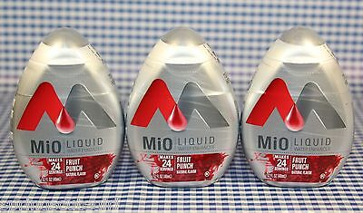3 Mio Liquid Water Enhancer FRUIT PUNCH Natural Flavor 72 Servings Total MIX