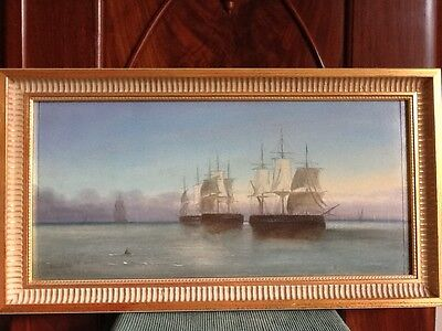 TABLEAU 19ème HSP BELLE MARINE SIGNEE - 19TH C. SEASCAPE OIL ON BOARD SIGNED