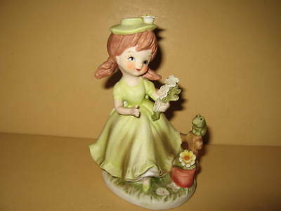 Napco Napcoware Girl With Flowers Frog On Fence Ceramic Figurine C-8611