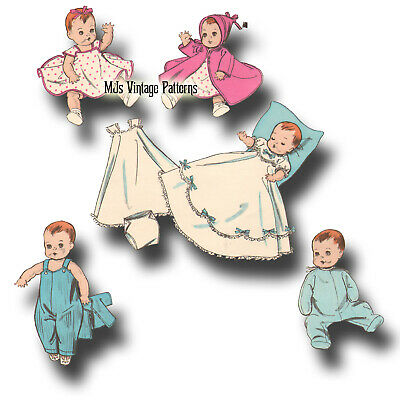 """Vintage 1950s Baby Doll Clothes Pattern ~ for 8"""" 9"""" Ginette, Ginny, Dy Dee Baby"""