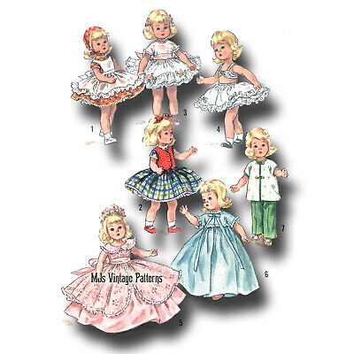 """1950s Vintage 7"""" 8"""" Doll Pattern WHOLE WARDROBE ~ for Ginny Muffie Wendy"""