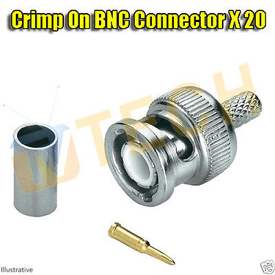 Crimp BNC RG59 Coaxial Connector Adapter For CCTV Camera DVR Plug X 20