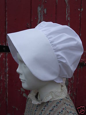 Girls VICTORIAN BONNET Edwardian Regency White Black Period Maid Poor School