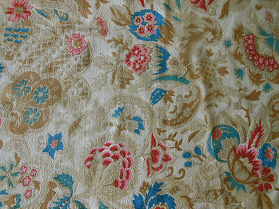 Antique Shabby French  Faded Floral Cretonne Cotton Fabric~ pink blue pale brown