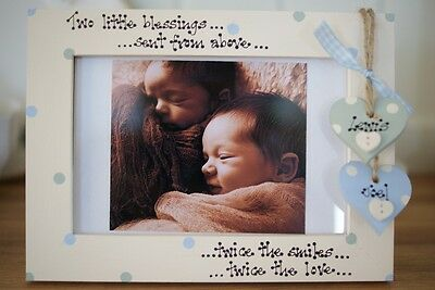 Personalised Photo Frame by Filly Folly! Twins New Baby Gift!