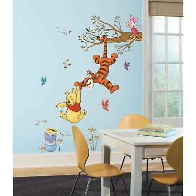 New Giant WINNIE THE POOH & TIGGER SWING FOR HONEY WALL DECALS Disney Stickers