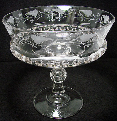 Ripley & CO 1884 Dakota Beautiful Antique Large Etched Compote