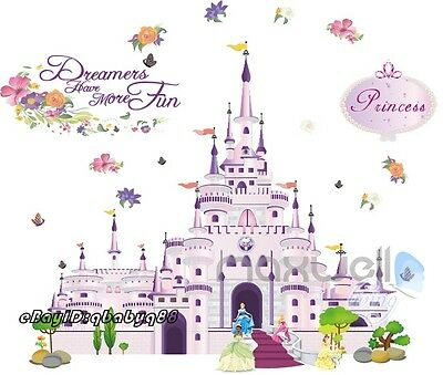 Large Disney Princess Castle Wall Sticker decal Removable kids nursery decor art