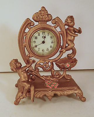 Vintage New Haven Windup Table Top Clock - Gilt Stand W/Cherubs - Working