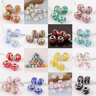 Lots Murano Lampwork Glass Flower Design Large Hole Bead Fit Charm Bracelet MAY