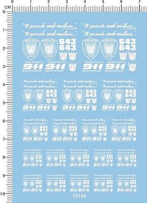 Decals Transformers POLICE  643 for different scales model kits (white) 00137