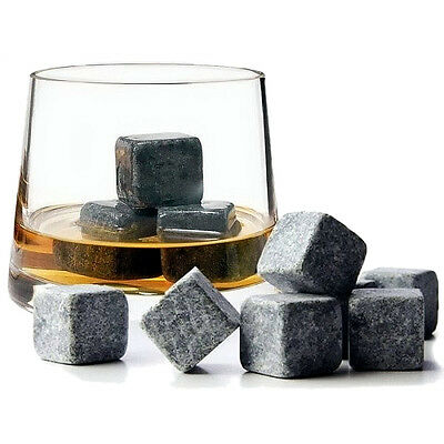 Whiskey Granite Stone Ice Cubes Drink Cooler Gift Set Whisky Scotch Shot On 9PC