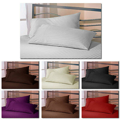Satin Stripe Fitted Sheets or Pillow cases - Single, Double, King, Superking
