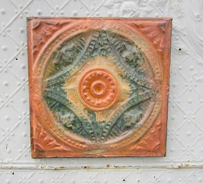 "12"" Square  Antique Ceiling Tin Wall Art by Lori Daniels -Salmon & Turquoise"