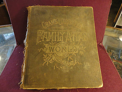 GRAM'S UNRIVALED FAMILY ATLAS OF THE WORLD / INDEXED 1886 by GEO F. CRAM