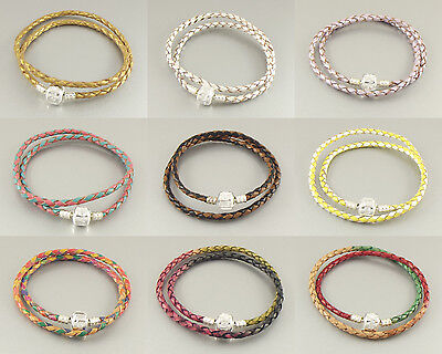 Double Wrap Genuine Leather charm bracelet silver plated clasp European braided