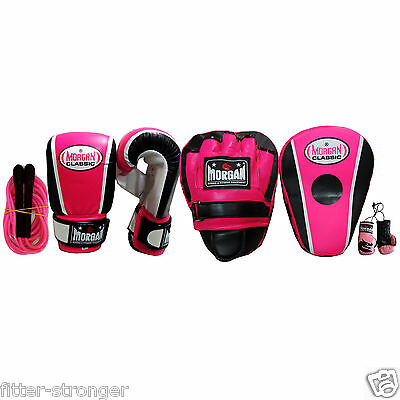 MORGAN Pink Female Boxing Training Pack Gloves Mitts Pad Women Skipping Rope New