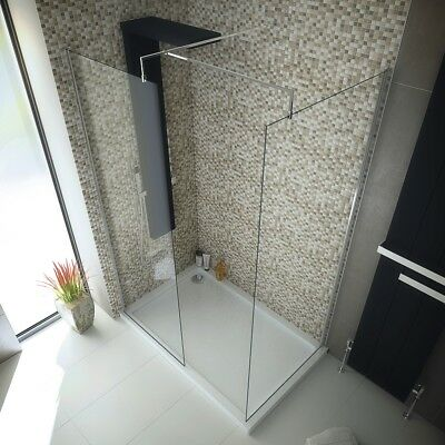 1200x800 Walk in 8mm Glass Wetroom Shower Cubicle with Tray and Free Waste