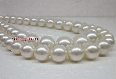 """LONG AAAAA 35""""11-12mm REAL South sea WHITE pearl necklace 14K"""