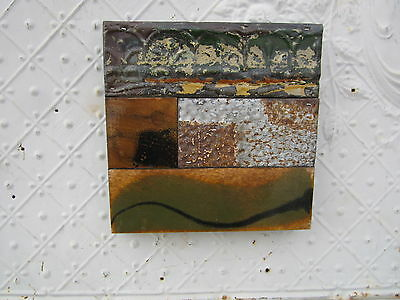 "9"" Pieced Square  Antique Ceiling Tin by Lori Daniels in Greens & Browns"