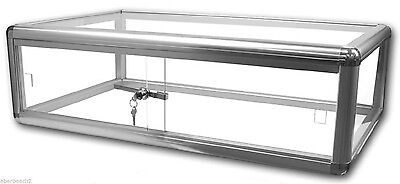 Silver Glass Countertop Display Case Store Fixture Showcase Security Lock Key