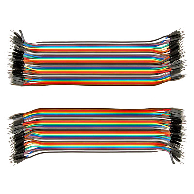 2pk 40 Conductor (80pcs) Male to Male Jumper Wire 20CM; 40P Wires Ribbon Cable