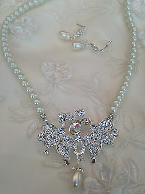 Ivory Pearl Crystal Diamante Bridal Wedding Necklace Jewellery Set Accessories
