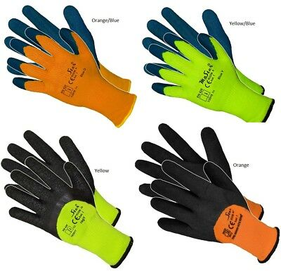 12 Pairs Hi Viz Thermal Winter Builders Latex  Work Gloves Gardening New