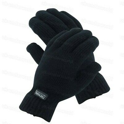 Adults Mens Black Full Finger Knitted Gloves Thermal Insulation Winter Warm