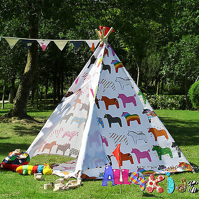 BNIB Large Cotton Canvas Kids Boys Girls Horse Pentagon Teepee Outdoor Tent