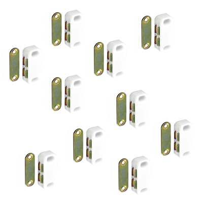 SMALL MAGNETIC DOOR CATCH 40mm Heavy Magnet Cupboard Cabinet WHITE 10 PACK