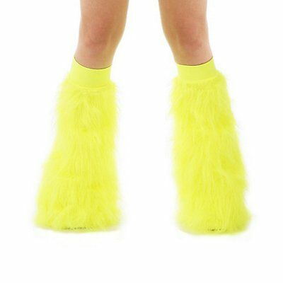 s TrYptiX Neon Yellow Rave Fluffy Boot Cover Leg Warmer Fluffies EDC Burning Man
