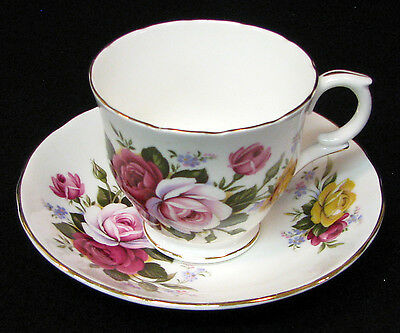 Crown Staffordshire bone china cup & saucer roses, green leaves, gold trim