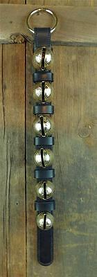 6 Classic_SOLID BRASS SLEIGH BELLS_DOOR HANGER_LEATHER STRAP_AMISH HANDMADE_NEW