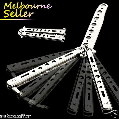 Folding Butterfly Knife Training Balisong Dull Blade Practice Trainer OZ