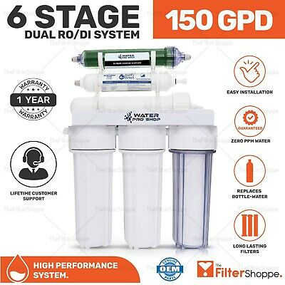Portable - Dual Use Reverse Osmosis Water Filter Systems DI/RO- 150 GPD Membrane