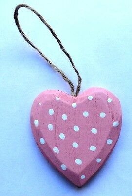 NEW Shabby Chic Vintage Wooden Pink Polka Dot Heart Hanging Decoration FREE P&P