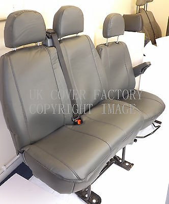 Renault Traffic Van Seat Covers- Grey PVC Leather-Made to Measure- Drv & Pss