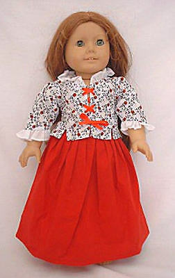 """Doll Clothes 18"""" Colonial  Skirt Red Jacket Cap Fits American Girl Dolls"""
